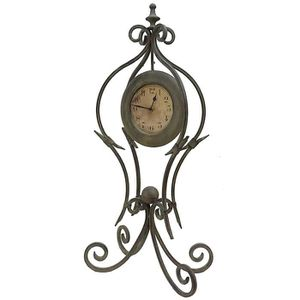 HORLOGE - PENDULE Grande Horloge à Poser Pendule sur Pied en Fer et
