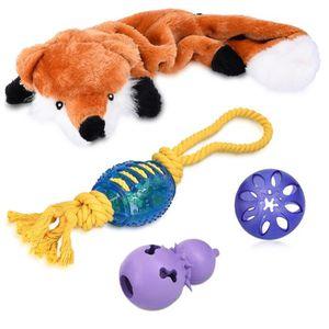 Navaris set 4x jouet pour chien - 1x peluche renard couineur ...