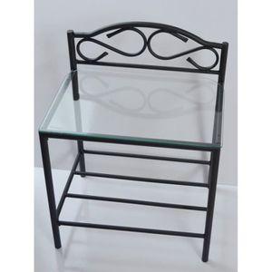 CHEVET Table de Chevet SHELBYVILLE design, en métal et ve