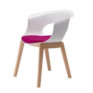 blanche et Achat design pieds coussi… Chaise avec bois vN0m8wynOP