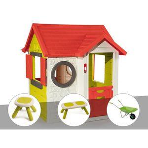 MAISONNETTE EXTÉRIEURE Cabane enfant My House - Smoby + Tabouret + Banc +