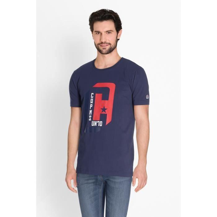CAMPS T-shirt Manches Courtes - Homme - Bleu et Rouge