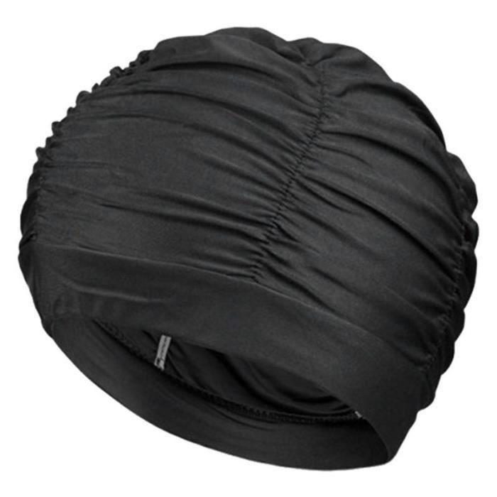 Bonnet de natation femmes cheveux longs bonnet de bain Stretch élastique drapé bonnet de bain bonnet de bain pour [A2C5B7D]