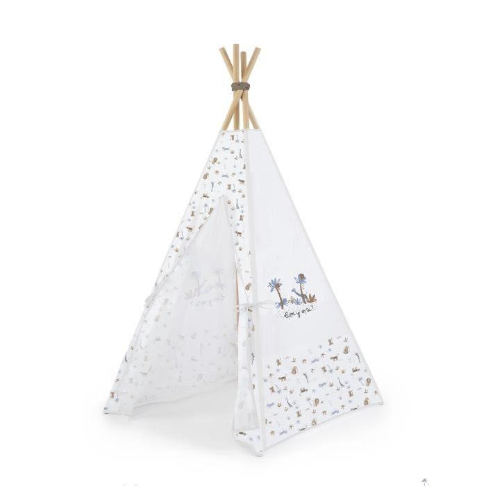 ABSORBA Tipi tissu imprimé 100% coton + Bâtons en bois Casablanca garçon