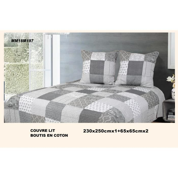 Boutis Couvre-lit Patchwork Sweet Home Gris 230x250