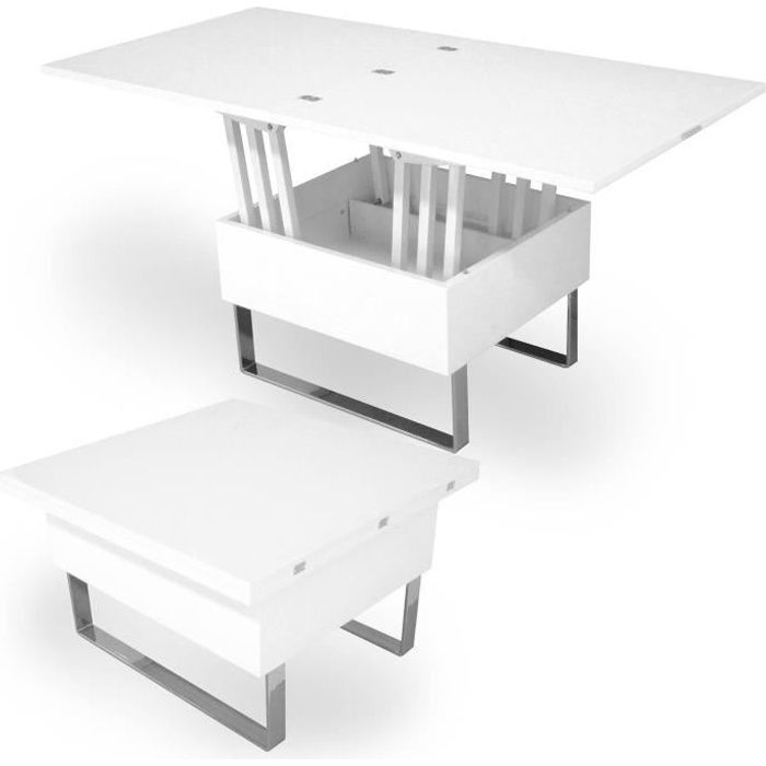 TABLE BASSE RELEVABLE MULTIFONCTION WOODS LAQUÉE BLANCHE