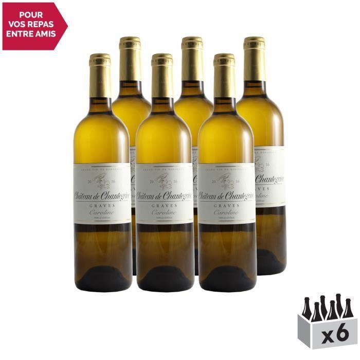Château De Chantegrive Blanc 2016 - Lot de 6x75cl - Appellation AOC Graves - Vin Blanc de Bordeaux - Cépages Sémillon, Sauvignon