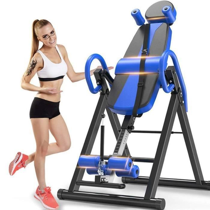Table d'Inversion Pliable Musculation Appareil du Dos Bras Réglable 185cm Inversion 180° Support jusqu'à 150kg,Sport Exercice Bleu