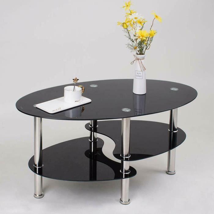 Table Basse en Verre, Design Moderne, Table de Salon Ovale