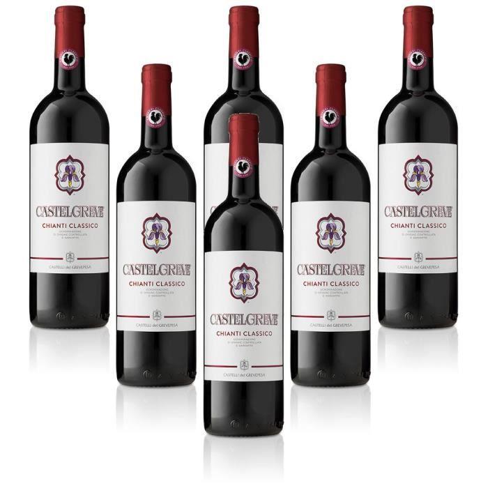 vin rouge italien Chianti Classico DOCG Castelgreve Castelli del Grevepesa Castelgreve 6 bouteilles 75 cl.