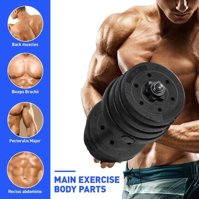 Lot d'haltères 30kg poids ajustables–HALTÈRE POIDS musculation