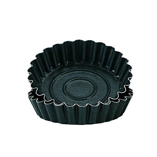 Grilo 412210 Lot 4 Petit Moule à Tartelette Cannelé 10 cm - Dulce, Autre, Noir 412210