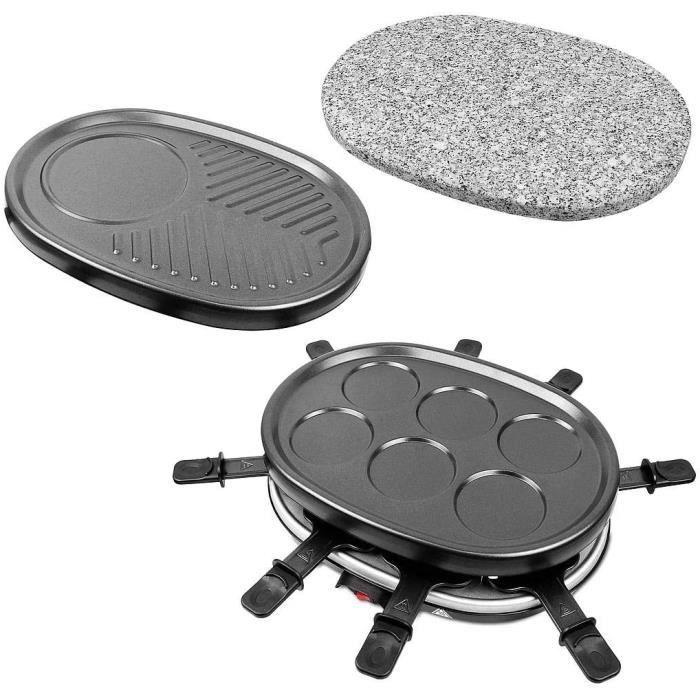 Leogreen - Appareil à Raclette 4 en 1 Multifonctions 8 personnes, Pierre à Griller, Plaque Grill, Plaques Crêpes, 8 poêlons, Compati