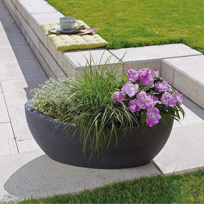 Scheurich 55371 253-58 Wave Globe Jardinière Plastique Granit Noir 58 x 24 x 23 cm