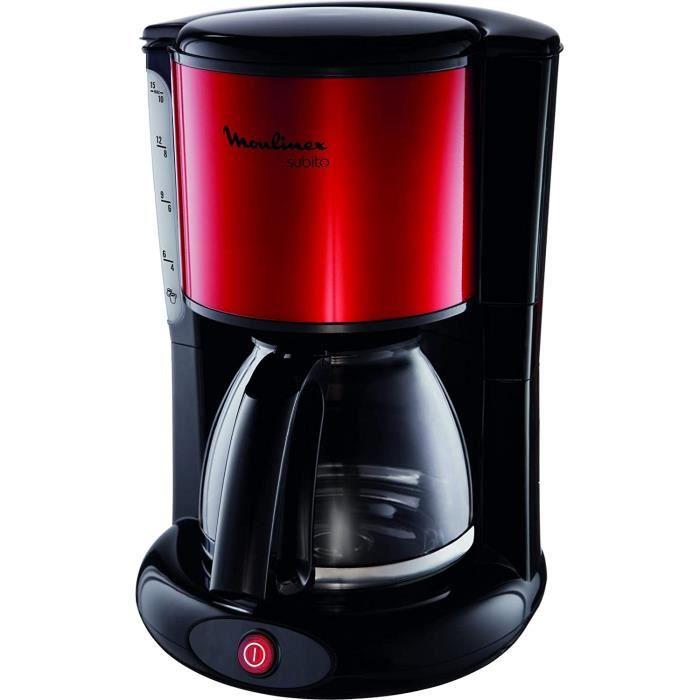 MOULINEX Cafetières filtre SUBITO rouge 10/15 Tasses Machine à café cafetière électrique Cafetière Capacité 1.25L Antigoutte Porte