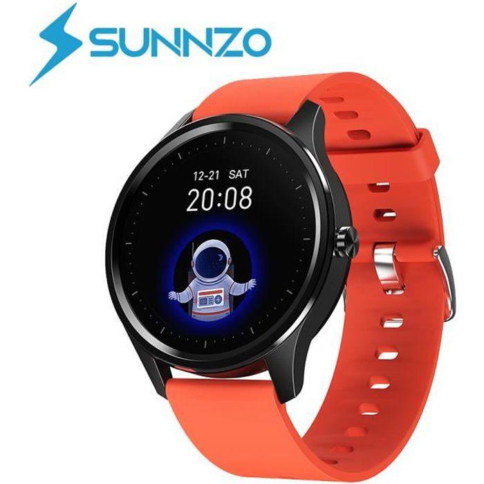 SUNNZO Montre Connectée pour IOS et Android,étanche IP67 Montre Sport Android Podomètre,Cardiofréquencemètre,Sommeil,SMS Afficher
