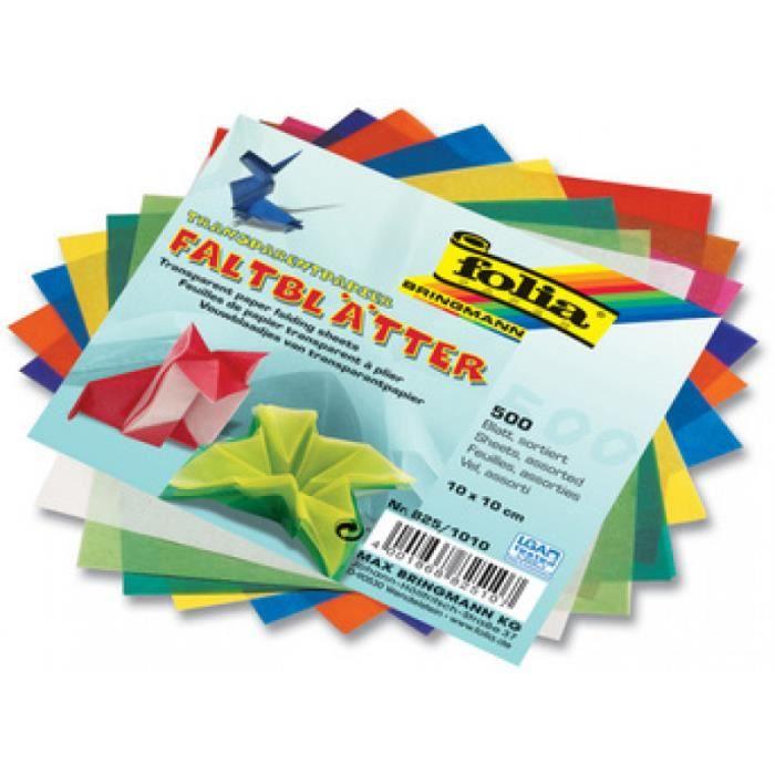 FOLIA Papeterie - Fournitures folia Papier transparent pour le pliage, 100 x 100 mm 225808