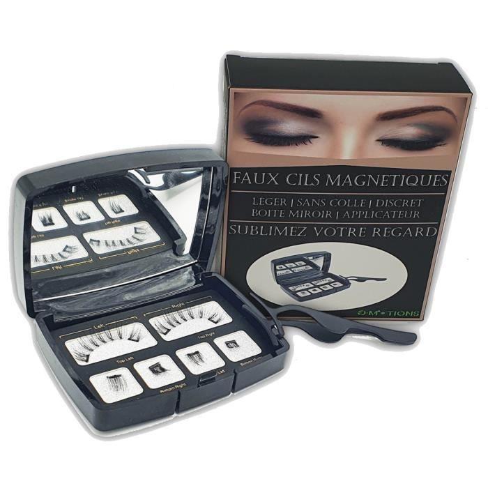 G-MOTIONS Faux Cils Magnétiques/Idéal maquillage rapide/Sans colle 2 Faux cils : Double inférieur + applicateur + boite mirroir