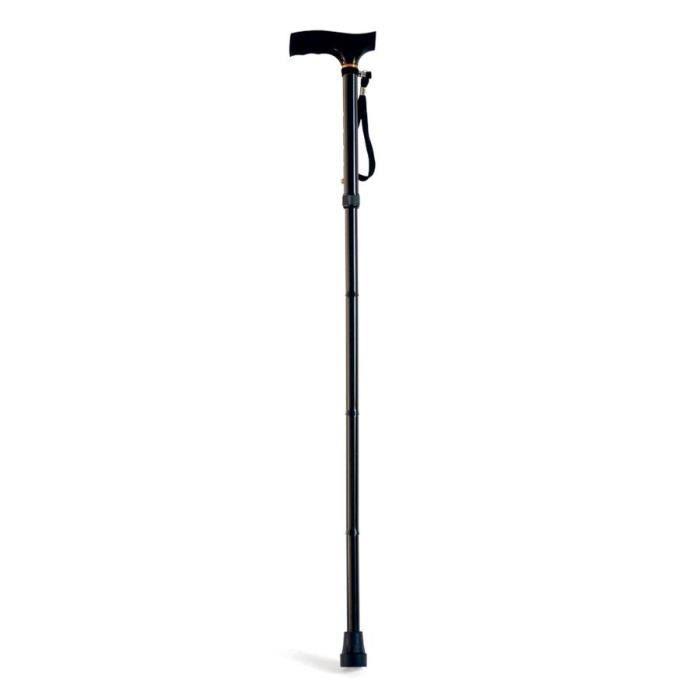 MILL'O SANTE Canne simple pliante - Aluminium léger - Noir - Hauteur : 84 – 94 cm - 0,38 kg