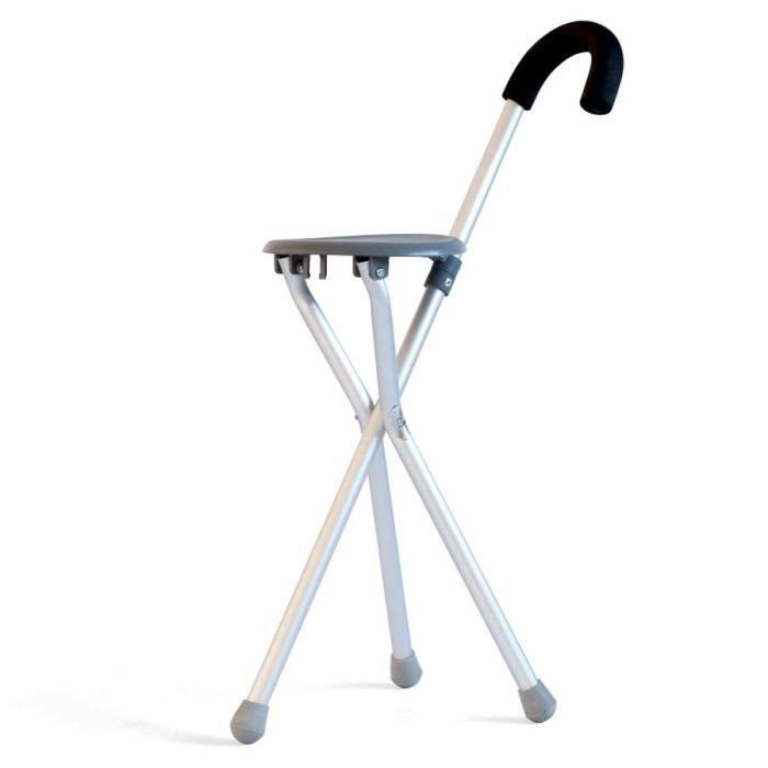 MILL'O SANTE Canne siège dépliante - Aluminium léger - Hauteur poignée : 86 cm - Hauteur assise : 50 cm