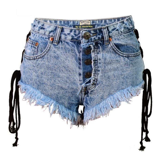 Short femme en jean taille haute lien coulisant avec frange SIMPLE FLAVOR