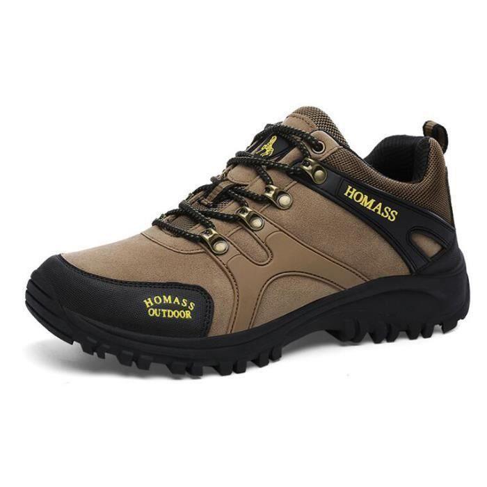 Automne à pied en cuir chaussures en plein air chaussures de randonnée homme - confort résistant à l'usure chaussures pour - Khaki