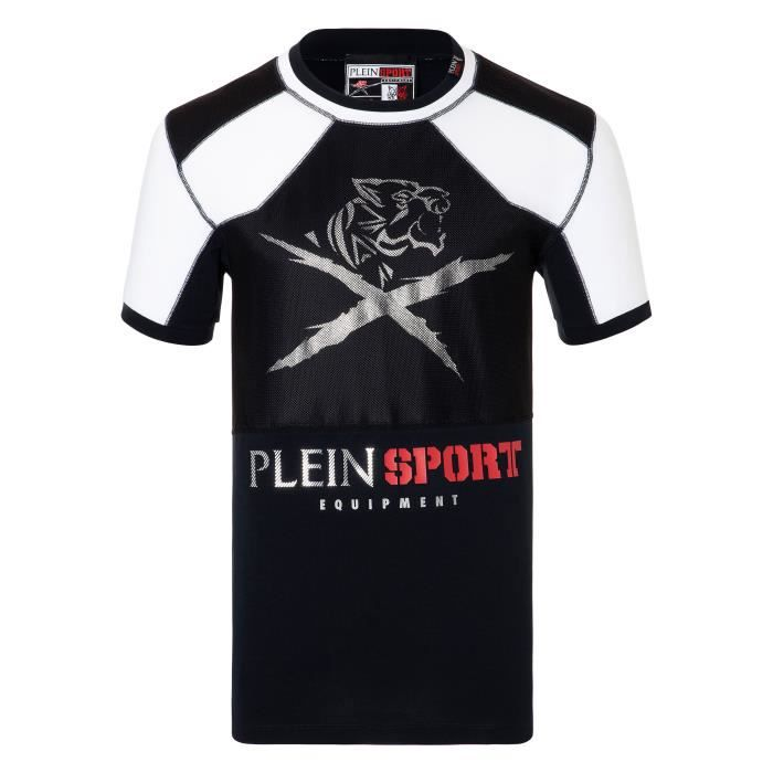 PLEIN SPORT Tshirt - Black - For Men - édition -Roger- - Référence : MTK1840SJY001N0201