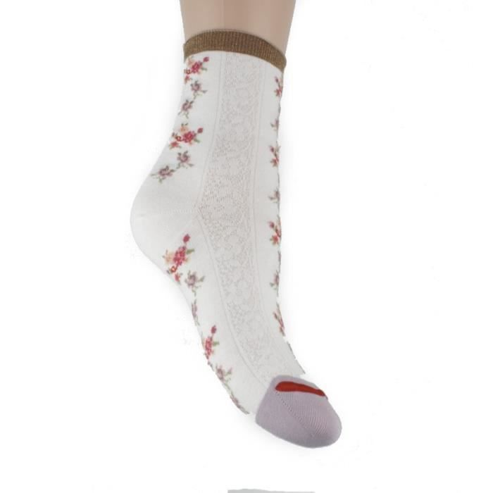 Mi-chaussettes pinky libery (écru - 36/41)