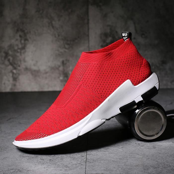 Mode homme solide respirant sans lacet sur chaussures de course de sport légères baskets - rouge