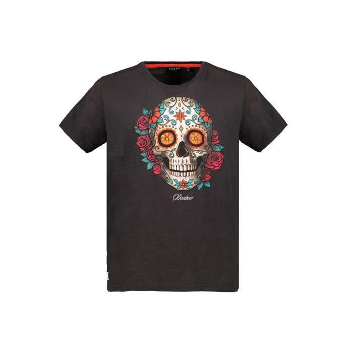 DEELUXE T-shirt dessin crâne mexicain CALAVERA Charcoal