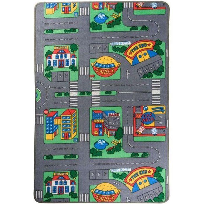 Tapis jeu circuit petites voitures 100x150cm
