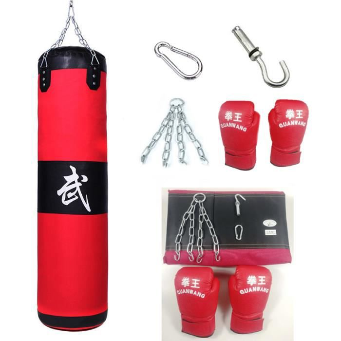 Sac de Boxe Sac de Frappe Kickboxing Kit Boxe Avec Gants Chaîne Suspension Sac Vide