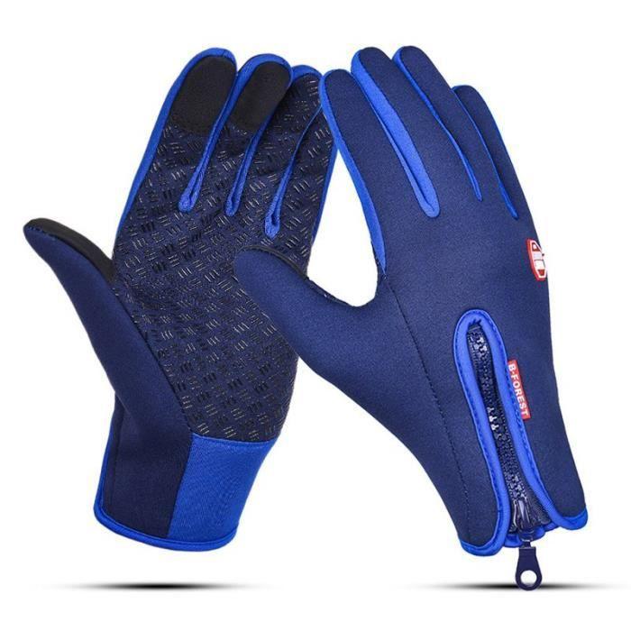 Bleu-L -Gants de cyclisme à écran tactile,gants de Ski thermique en polaire coupe vent pour hommes,gants de vélo,de sport impermé
