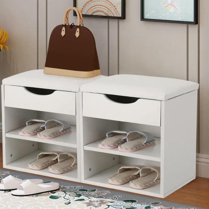 Armoire à chaussures, Banc pour chaussures, hall d'entrée à la maison Cabinet rembourré de rangement GXU