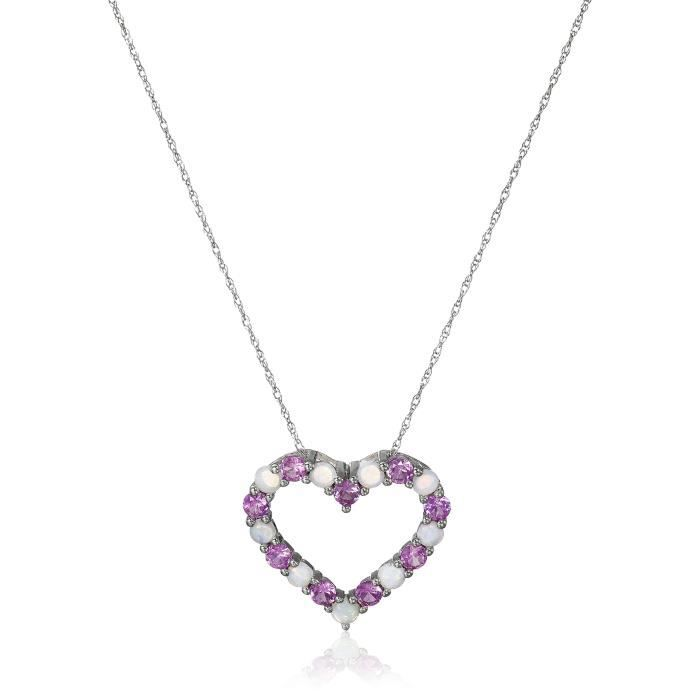 10k White Gold Created Pink Sapphire And Opal Heart Pendant Necklace, 18 VE6OS