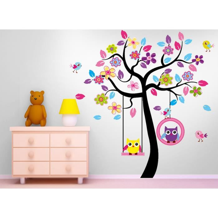 stickers arbres hiboux balan oire murale decoratif achat vente stickers cdiscount. Black Bedroom Furniture Sets. Home Design Ideas