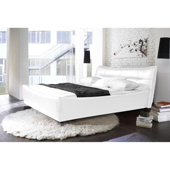 lit jade 140x200 en simili cuir blanc massivum achat vente structure de lit cdiscount. Black Bedroom Furniture Sets. Home Design Ideas