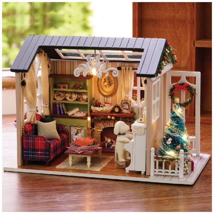 Lampes /à LED Cadeau Saint Valentin Generic Maison de Poup/ée Bricolage Joyeux No/ël Maison de Poup/ée Miniature /à Construire Bricolage avec Meubles