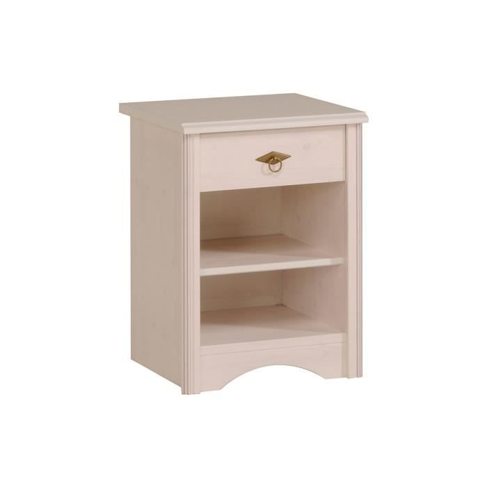 Table de chevet 1 tiroir blanc isaure achat vente for Table de chevet bebe