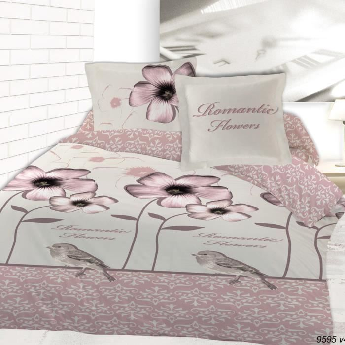 housse de couette flanelle 220x240 2 taies romantic flowers achat vente housse de couette. Black Bedroom Furniture Sets. Home Design Ideas