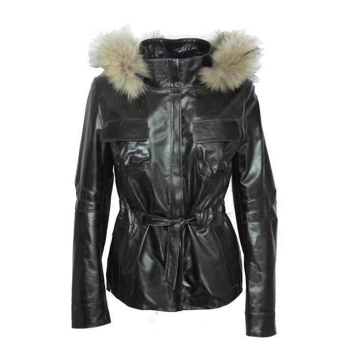 Veste cuir femme made in france dks nny001 marron marron achat vente vest - Canape cuir made in france ...