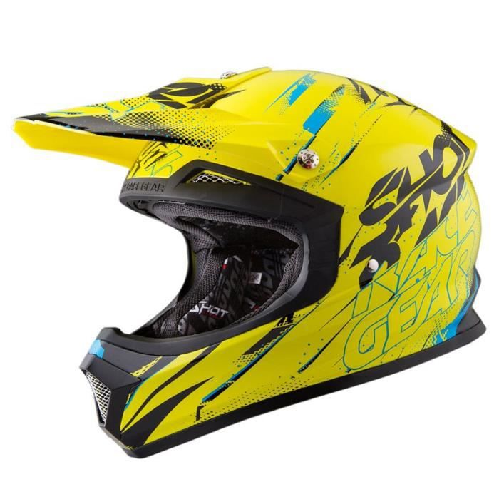 casque cross shot furious capture jaune bleu shot 2016 achat vente casque moto scooter. Black Bedroom Furniture Sets. Home Design Ideas