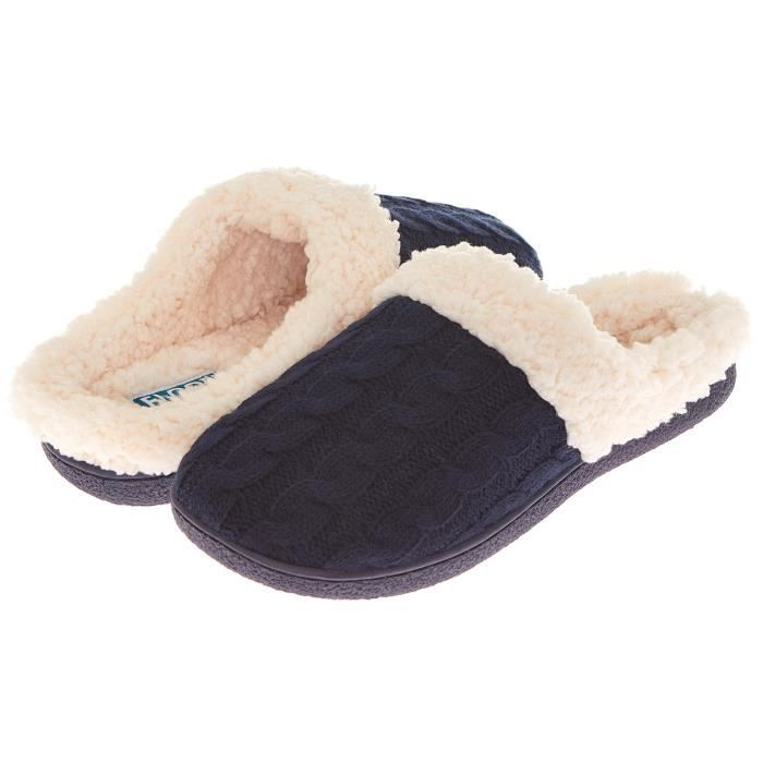 Womens Indoor Outdoor Knitted Sherpa Lined Clog Slipper W-memory Foam MQR74 Taille-38