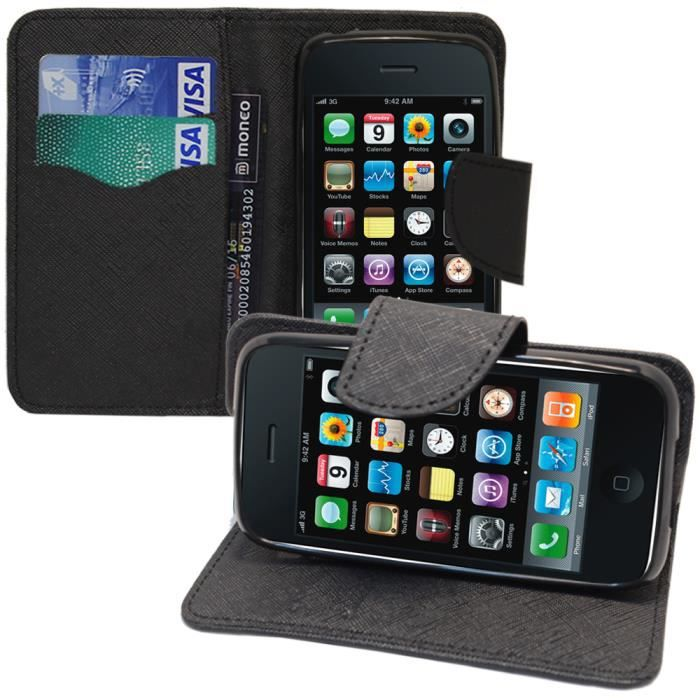Apple iphone 3g 3gs etui portefeuille support video cuir for Housse iphone 3g