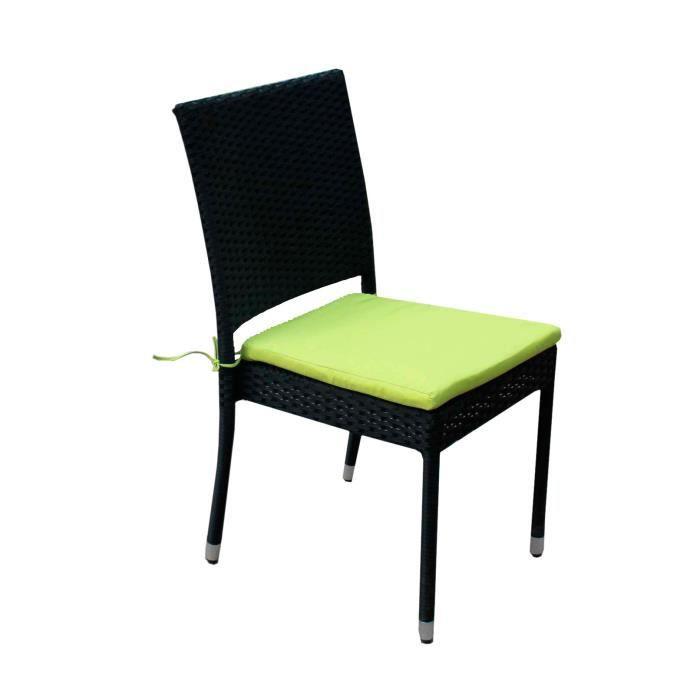 FAUTEUIL JARDIN  Chaise en résine tressée avec coussin pour jardin