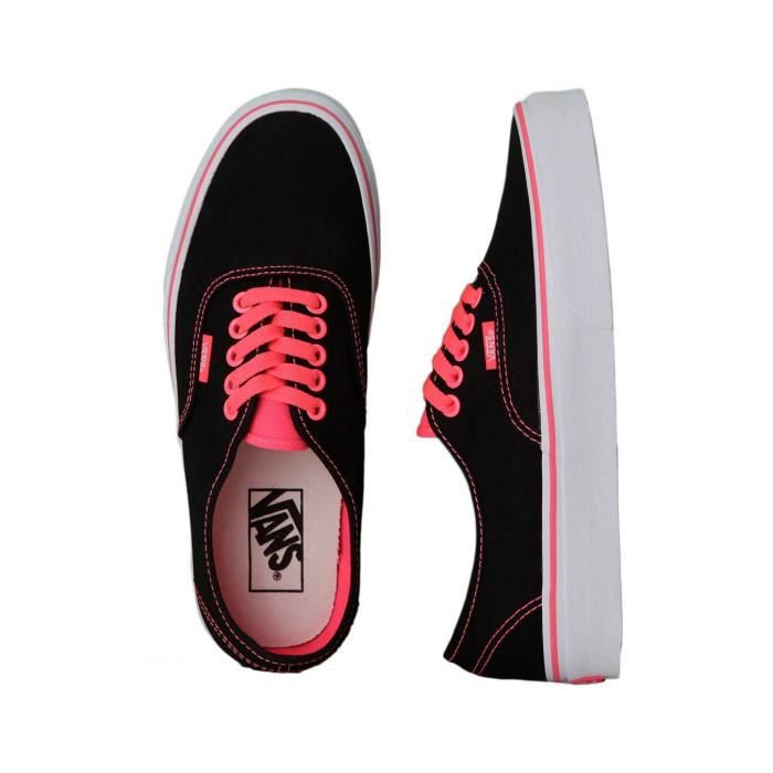 CHAUSSURE VANS AUTHENTIC POP BLACK NEON RED FEMME BASKETS BASSE POINTURE 36,5