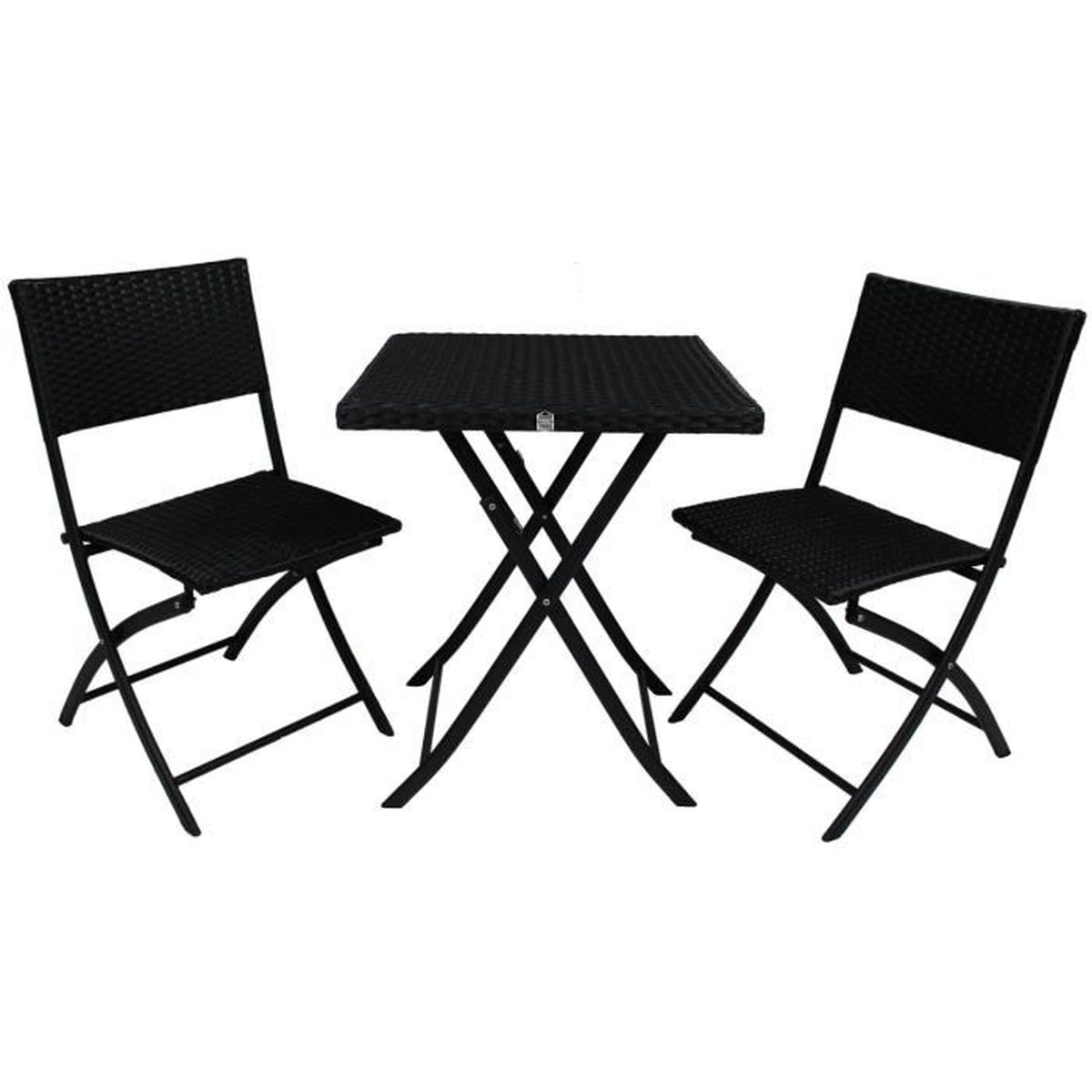 ensemble table de jardin 2 chaises en r sine tress e et. Black Bedroom Furniture Sets. Home Design Ideas