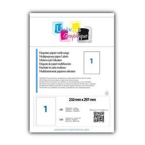 Étiquette classement 100 planche A4  de 1 étiquette  210 x 297