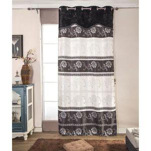 RIDEAU Paire de double rideaux 140x260 cm Noir