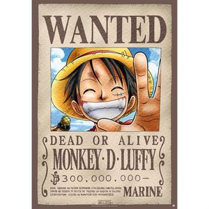 AFFICHE ONE PIECE - Poster Wanted Luffy roulé filmé